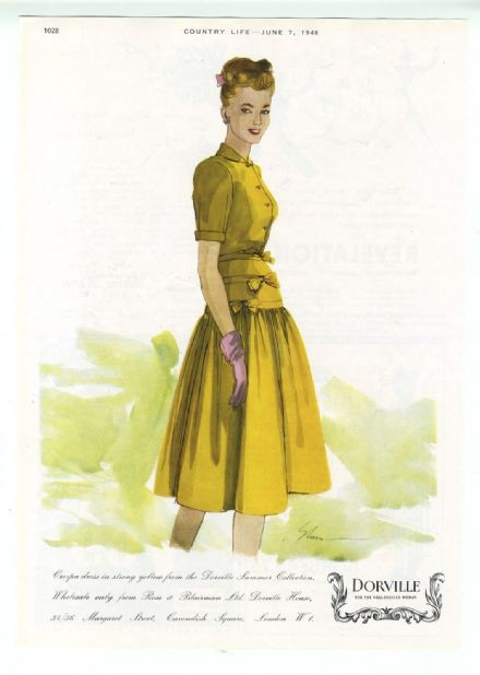 1946 Print FASHION HOUSE Dorville Crespa Summer Dress Sketch ADVERT Original Vintage